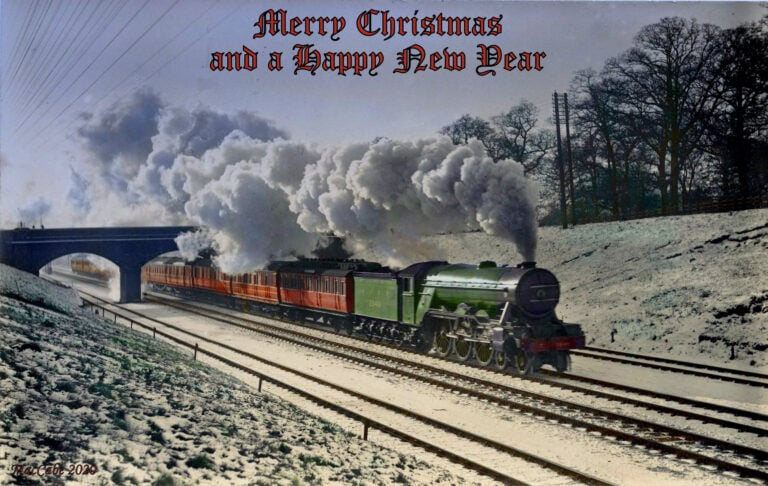 "Christmas card showing A1 No. 2549 ""Persimmon"" at Hadley Wood"